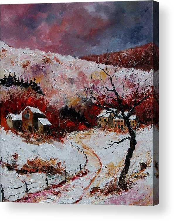 Snow Acrylic Print featuring the painting Snow In The Ardennes 78 by Pol Ledent
