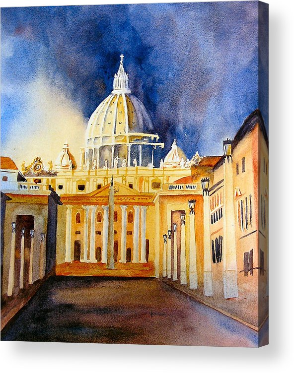 Vatican Acrylic Print featuring the painting St. Peters Basilica by Karen Stark