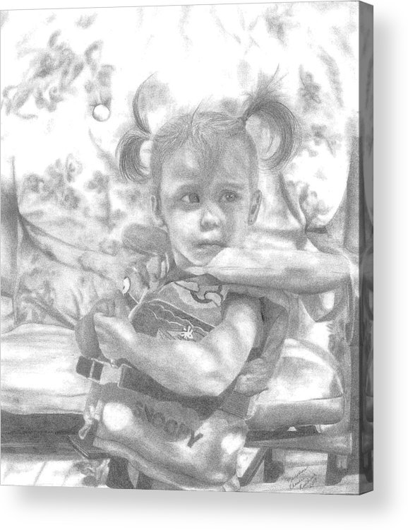 Graphite Acrylic Print featuring the drawing Summer Fun by Rhonda Rodericks
