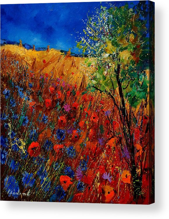 Flowers Acrylic Print featuring the painting Summer Landscape With Poppies by Pol Ledent