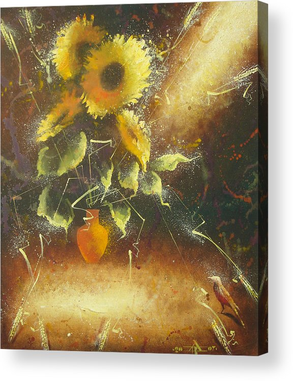 Still Life Acrylic Print featuring the painting Sunflowers by Andrej Vystropov