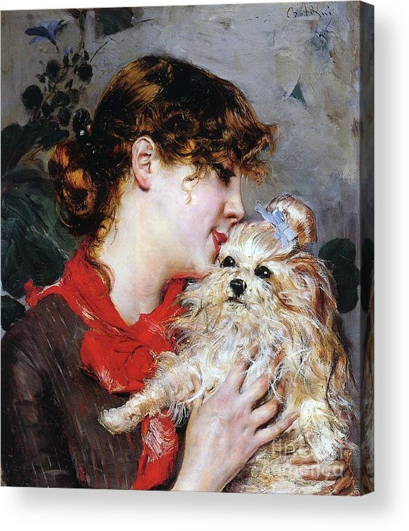 The Actress Rejane And Her Dog Acrylic Print featuring the painting The Actress Rejane And Her Dog by Giovanni Boldini