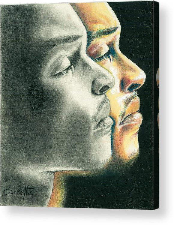 Chalk Pastel Acrylic Print featuring the drawing Tip's Transition by Keith Burnette