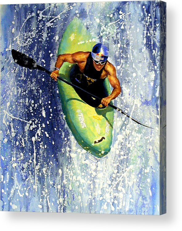 Kayaker Acrylic Print featuring the painting Whitewater Kayaker by Lynee Sapere