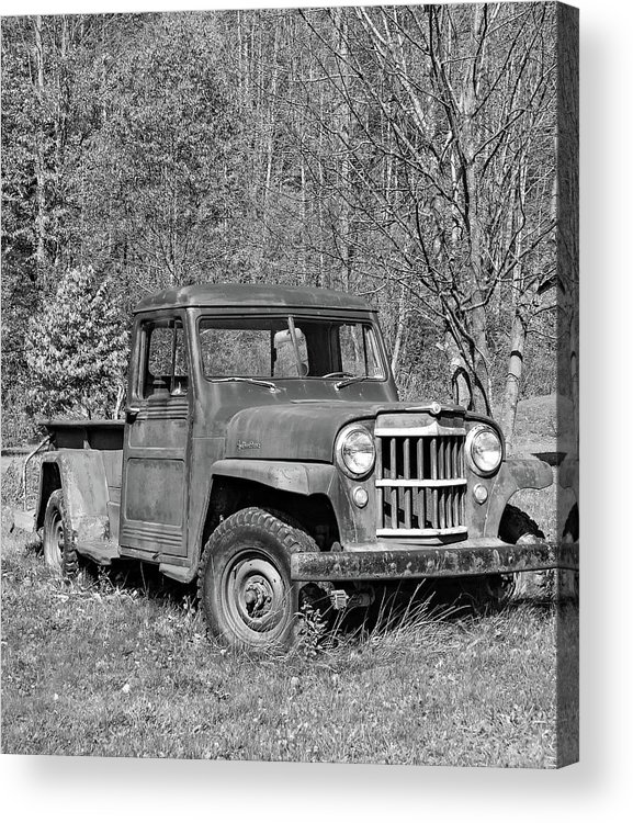 Vehicle Acrylic Print featuring the photograph Willys Jeep Pickup Truck Monochrome by Steve Harrington
