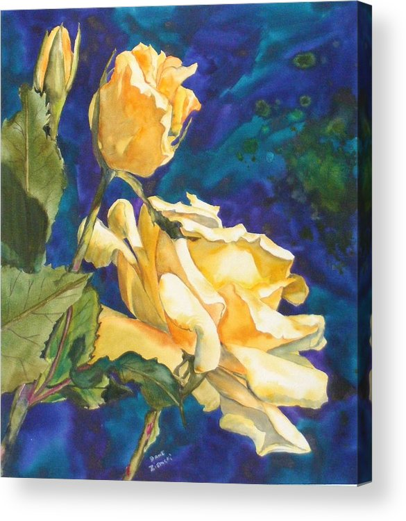 Acrylic Print featuring the painting Yellow Rose After Texas by Diane Ziemski