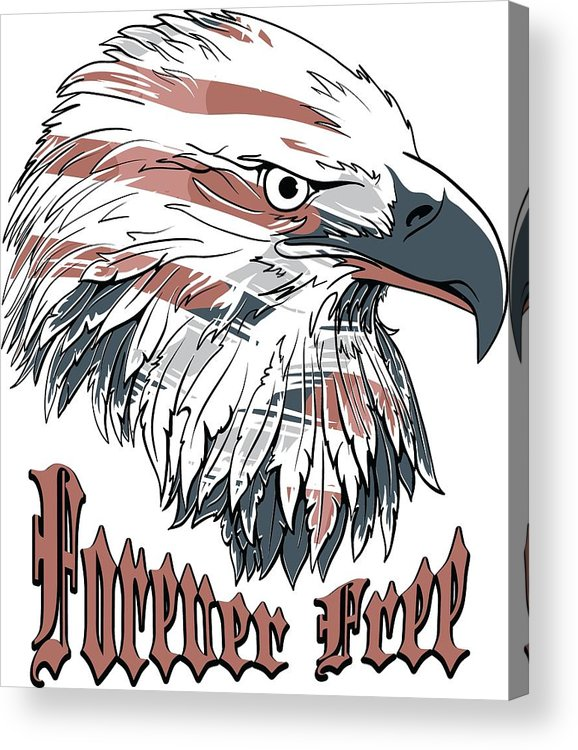 4th-of-july Acrylic Print featuring the digital art American Flag Bald Eagle Forever Free by Passion Loft