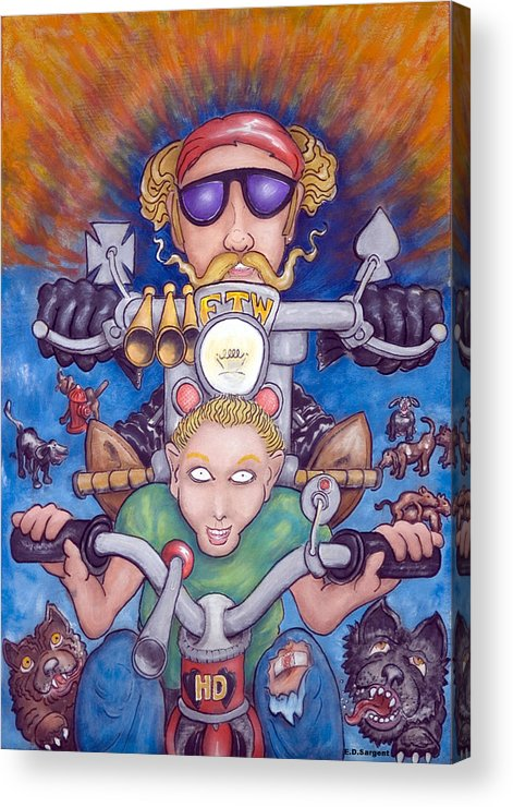 Tricycle Acrylic Print featuring the painting Born To Ride by Eddie Sargent