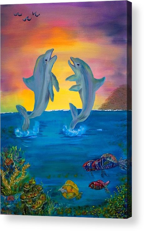 Original Acrylic Print featuring the painting Fantasy Dolphins by Mikki Alhart
