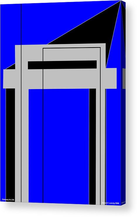 Gateway To Life Acrylic Print featuring the digital art Gateway To Life - Blue by Asbjorn Lonvig