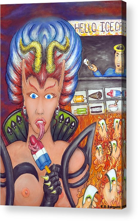 Devilish Acrylic Print featuring the painting Hello Ice Cream by Eddie Sargent