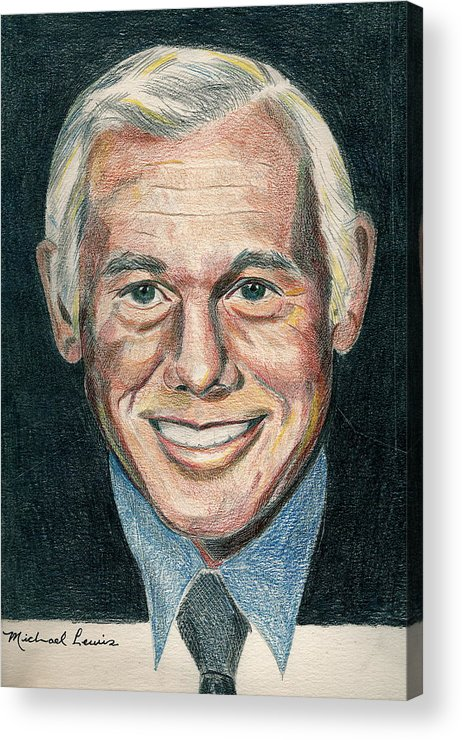 Portraiture Acrylic Print featuring the drawing Johnny Carson by Michael Lewis