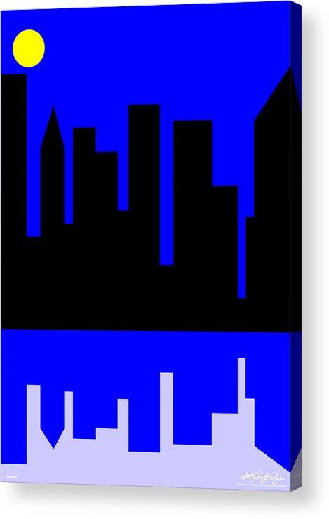 Manhattan Acrylic Print featuring the digital art Manhattan by Asbjorn Lonvig