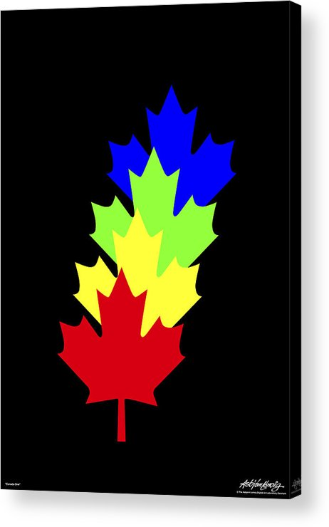 Maple Leaves Acrylic Print featuring the painting Maple Leaves by Asbjorn Lonvig