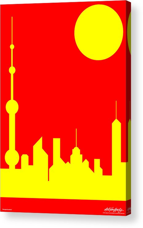 Acrylic Print featuring the digital art Shanghai Sunshine by Asbjorn Lonvig
