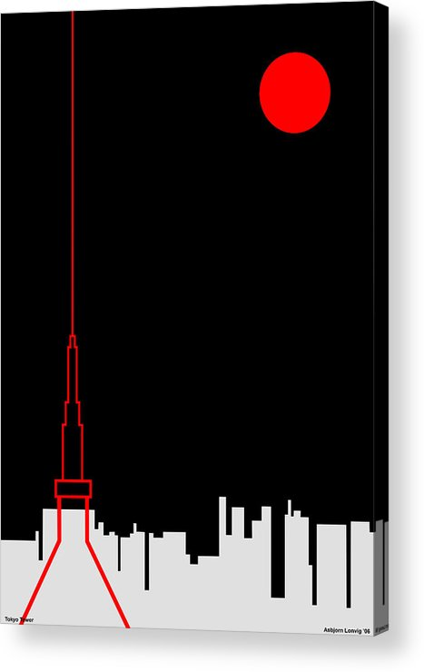 Acrylic Print featuring the digital art Tokyo Tower by Asbjorn Lonvig