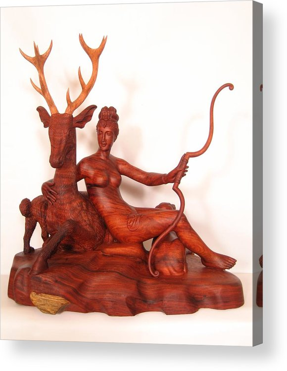 The Huntress Acrylic Print featuring the sculpture Diana And The Stag by Thu Nguyen