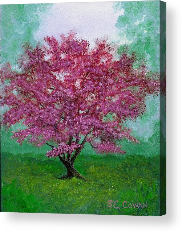 Landscape Acrylic Print featuring the painting Crabapple by SueEllen Cowan