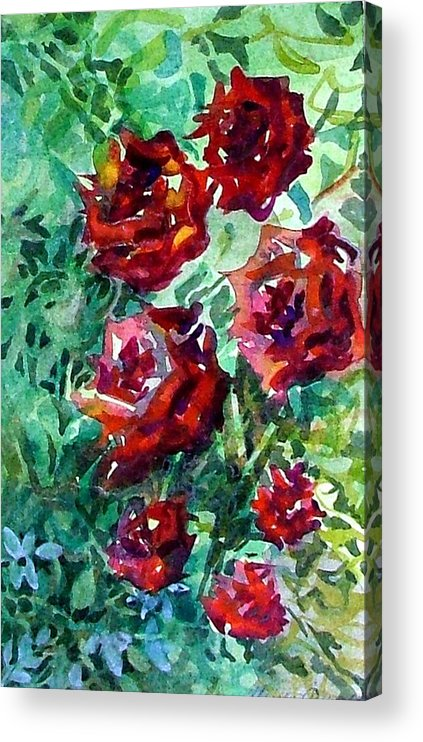 Rose Acrylic Print featuring the painting Roses by Mindy Newman