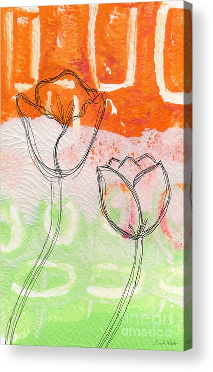 Abstract Acrylic Print featuring the mixed media Tulips by Linda Woods