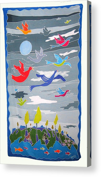 Landscape Acrylic Print featuring the painting Once In A Blue Moon by Rollin Kocsis