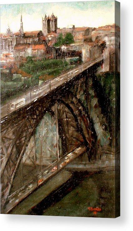 Porto Acrylic Print featuring the painting Bridge Luis I-Oporto by Tomas Castano