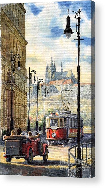 Architecture Acrylic Print featuring the painting Prague Kaprova Street by Yuriy Shevchuk
