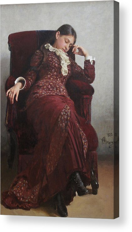 Ilya Repin Acrylic Print featuring the painting Rest. Portrait of Vera Repina, the Artist's Wife. by Ilya Repin