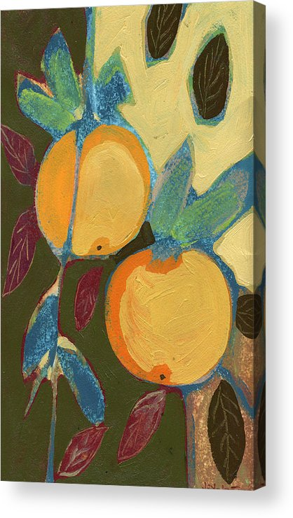 Orange Acrylic Print featuring the painting Two Oranges by Jennifer Lommers