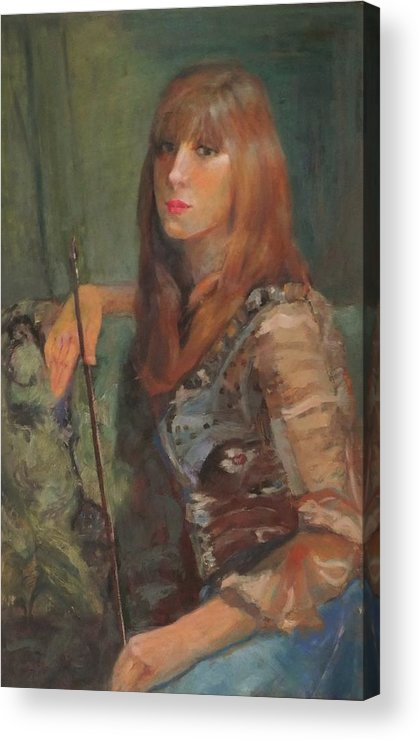 Girl Acrylic Print featuring the painting Girl With Bow by Irena Jablonski