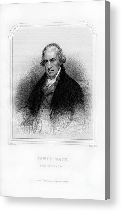 Engraving Acrylic Print featuring the drawing James Watt, Scottish Inventor by Print Collector