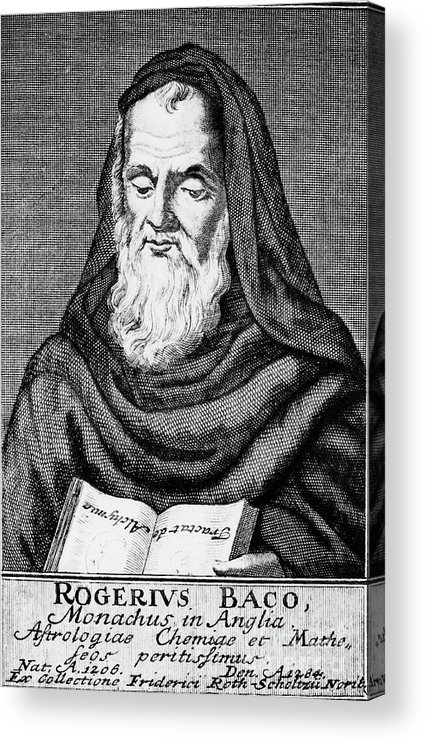 Engraving Acrylic Print featuring the drawing Roger Bacon, Philosopher And Scientist by Print Collector