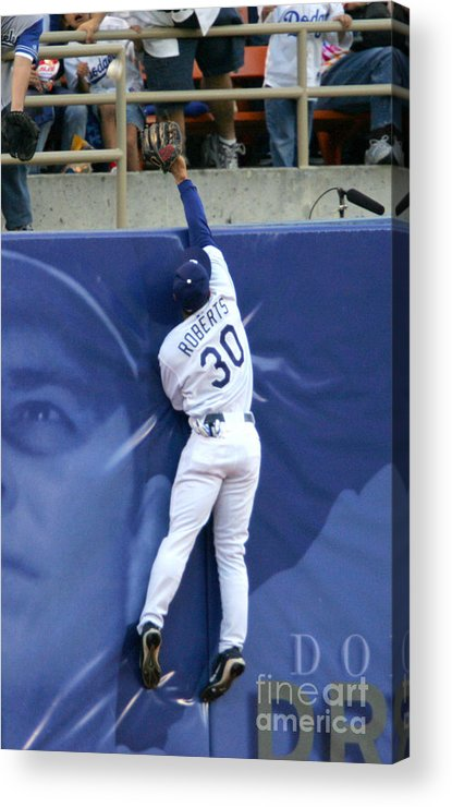 California Acrylic Print featuring the photograph Hideo Nomo, Dave Roberts, and Barry Bonds by Jon Soohoo