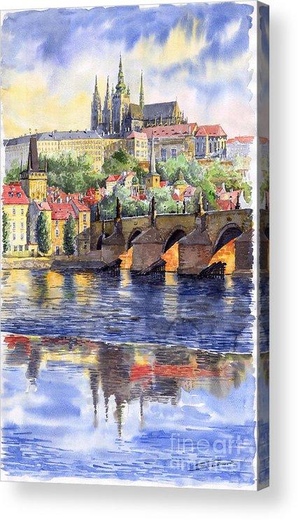 Watercolour Watercolor Prague Praha Cityscape Castle Old City Hous Bridge Acrylic Print featuring the painting Prague Castle with the Vltava River 1 by Yuriy Shevchuk