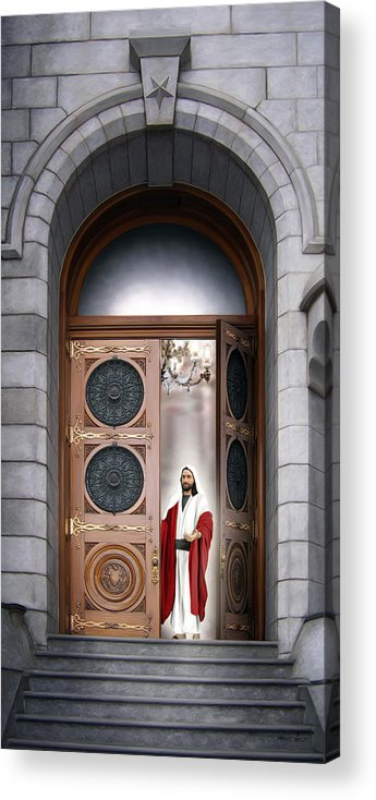 Jesus Acrylic Print featuring the painting House of the Lord by Brent Borup