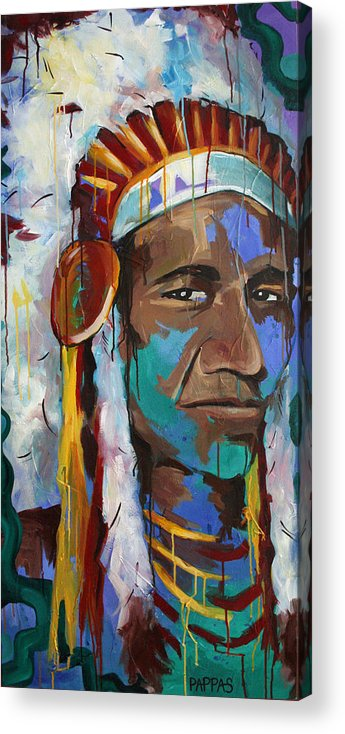 Art Acrylic Print featuring the painting Chiefing by Julia Pappas
