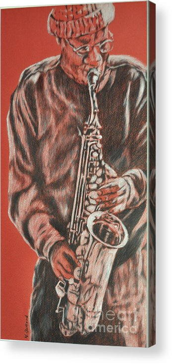Music Acrylic Print featuring the painting Red Hot Sax by Norma Gafford