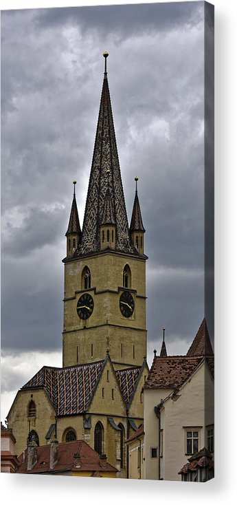 Ancient Acrylic Print featuring the photograph Evangelical Cathrdral Sibiu Romania tower clock by Adrian Bud