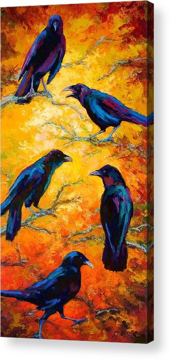 Crows Acrylic Print featuring the painting Gossip Column II by Marion Rose