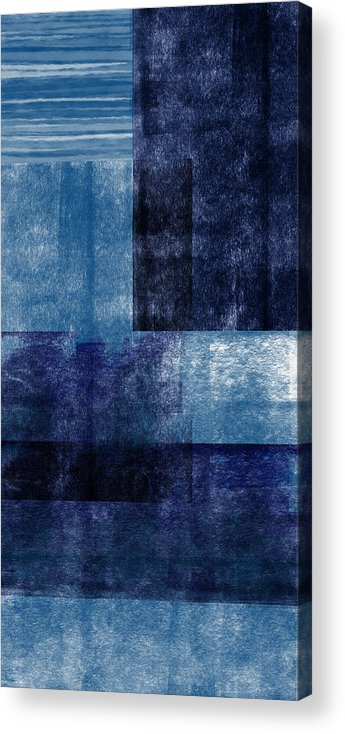 Abstract Acrylic Print featuring the mixed media Azul Blocks 1- Art by Linda Woods by Linda Woods