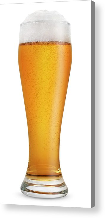 Orange Color Acrylic Print featuring the photograph Glass Of Light Beer by Julichka