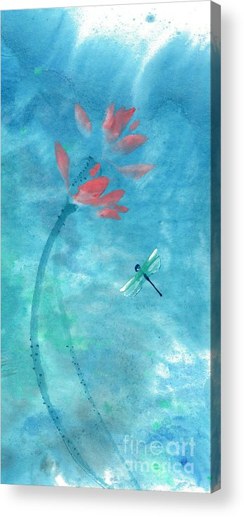An Elegant Dragonfly Dotting Among Lotus Flowers On A Breezy Pond. The Painting Is Done With Watercolor On Rice Paper By Mui-joo Wee In Simple Contemporary Brush Strokes Acrylic Print featuring the painting Lotus and dragonfly by Mui-Joo Wee