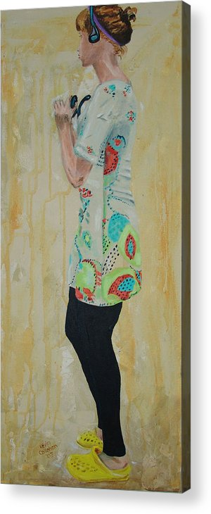 Portrait Acrylic Print featuring the painting Girl in the Yellow Shoes by Kevin Callahan