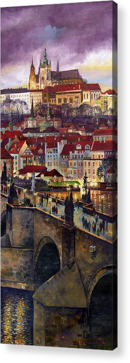 Prague Acrylic Print featuring the painting Prague Charles Bridge with the Prague Castle by Yuriy Shevchuk
