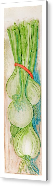 Still Life Acrylic Print featuring the painting Green Onions by Elle Smith Fagan