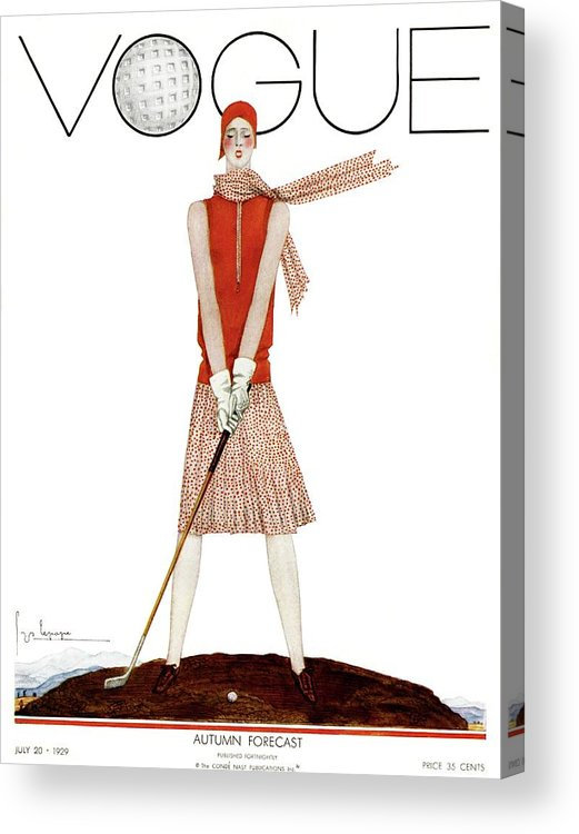 Illustration Acrylic Print featuring the photograph A Vintage Vogue Magazine Cover Of A Woman by Georges Lepape