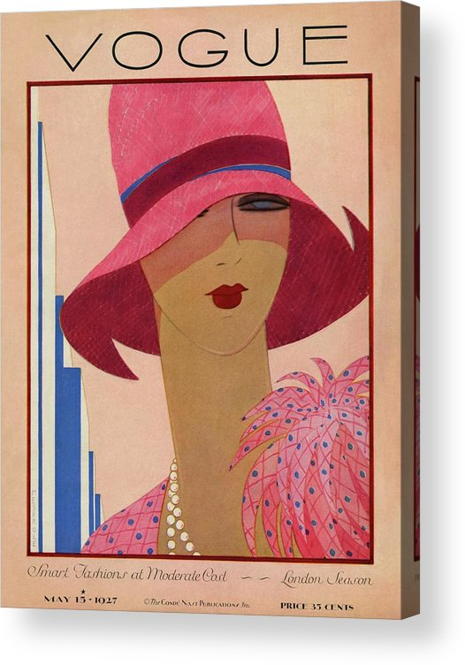 Illustration Acrylic Print featuring the photograph A Vintage Vogue Magazine Cover Of A Woman by Harriet Meserole
