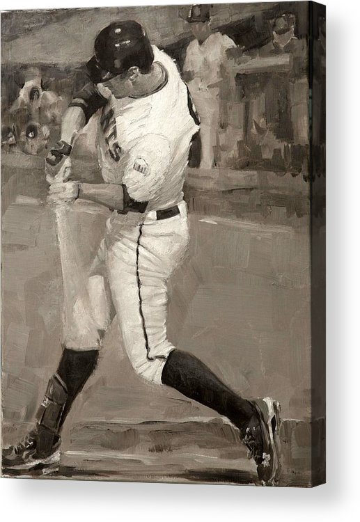 Brandon Belt Acrylic Print featuring the painting Belted Over First by Darren Kerr