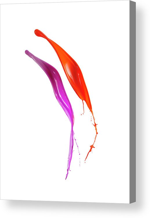 Orange Color Acrylic Print featuring the photograph Splashing Of The Color Paint by Level1studio