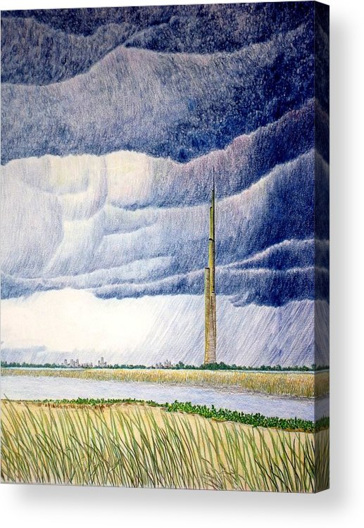 Landscape Acrylic Print featuring the painting A Finger to the Sky by A Robert Malcom